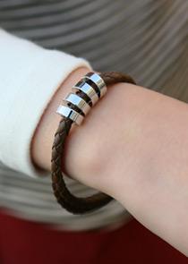 """471145 - <br> <font color=""""878787""""><font face=""""굴림"""">Leather ring -bangle</font></font>"""