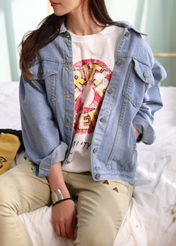 "485927 - <font color=""878787""><font face=""굴림"">Lucid van denim jacket</font></font>"