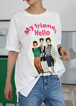 "485903 - <font color=""878787""><font face=""굴림"">Hello Friends T-shirt printing</font></font>"
