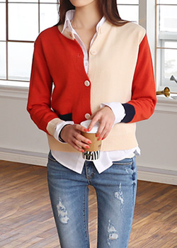"485932 - <font color=""878787""><font face=""굴림"">Weiss bit color knit cardigan</font></font>"