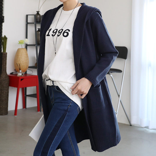 "486111 - <font color=""878787""><font face=""굴림"">Oblige hooded knit cardigan</font></font>"