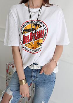 "486131 - <font color=""878787""><font face=""굴림"">Coconut Palm vintage printing T-shirts</font></font>"