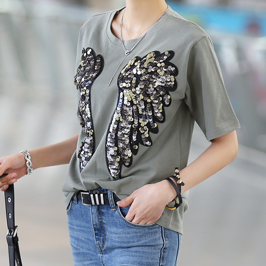 "486148 - <font color=""878787""><font face=""굴림"">Fly Wings Beads T-shirt</font></font>"