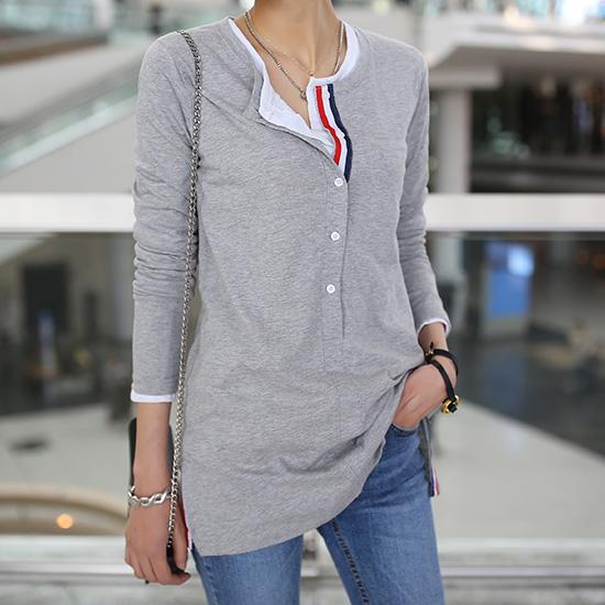 "486157 - <font color=""878787""><font face=""굴림"">Tamiya line color button T-shirt</font></font>"