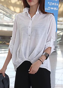"486179 - <font color=""878787""><font face=""굴림"">Kelly Mine unbalanced shirt</font></font>"