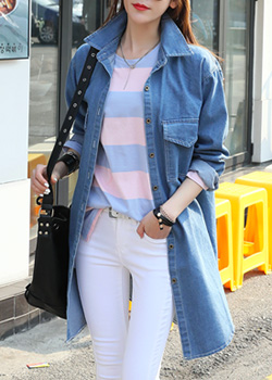 "486208 - <font color=""878787""><font face=""굴림"">Trimus denim long jacket</font></font>"
