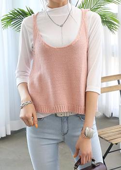 """486230 - <font color=""""878787""""><font face=""""굴림"""">Creamy Frozen Knit Vest</font></font>"""