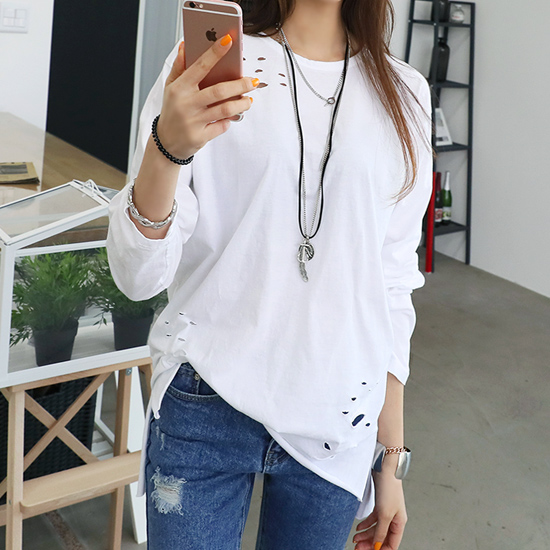 "486272 - <font color=""878787""><font face=""굴림"">Low cut Vintage T-Shirt</font></font>"