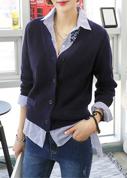 "486296 - <font color=""878787""><font face=""굴림"">Corrugated Melilla five basic cardigan</font></font>"