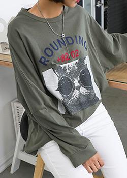 "486307 - <font color=""878787""><font face=""굴림"">Rounding Cat T-shirt printing</font></font>"