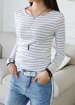"486348 - <font color=""878787""><font face=""굴림"">Jasmine striped T-shirt</font></font>"