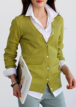 "486368 - <font color=""878787""><font face=""굴림"">Hyujen Corrugated knit cardigan</font></font>"