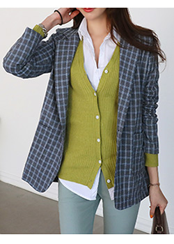 "486369 - <font color=""878787""><font face=""굴림"">Modernism check jacket</font></font>"