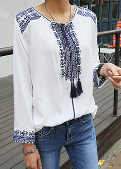 "486540 - <font color=""878787""><font face=""굴림"">Having already embroidered blouse</font></font>"