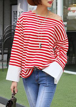 "486554 - <font color=""878787""><font face=""굴림"">Tight striped t-shirt</font></font>"