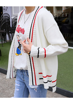 "486563 - <font color=""878787""><font face=""굴림"">Toure block knit cardigan</font></font>"