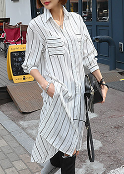 "486564 - <font color=""878787""><font face=""굴림"">Stripe long striped blouse</font></font>"