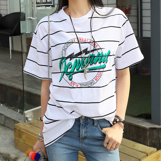 "486575 - <font color=""878787""><font face=""굴림"">Legend view striped t-shirt printing</font></font>"