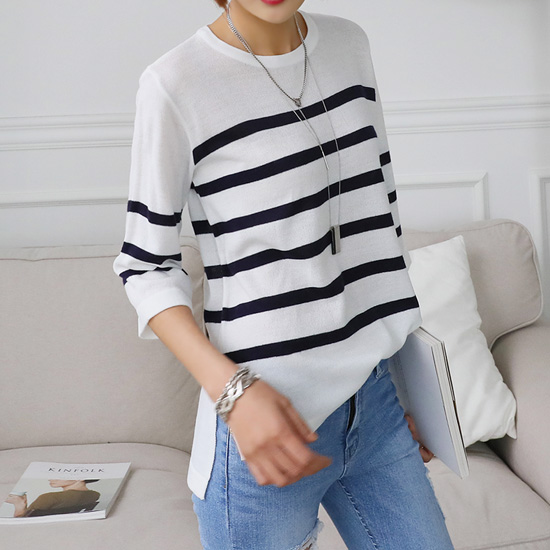"486666 - <font color=""878787""><font face=""굴림"">Benny Yu striped knitted</font></font>"