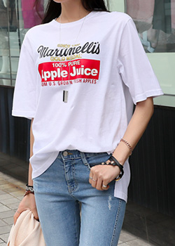 "486731 - <font color=""878787""><font face=""굴림"">Apple Juice T-shirt printing</font></font>"