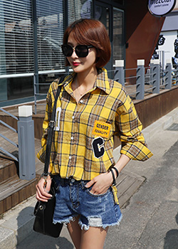 "486796 - <font color=""878787""><font face=""굴림"">Ssikeol Check Shirts</font></font>"