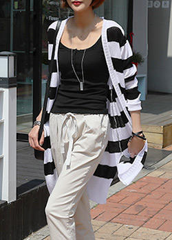 "486802 - <font color=""878787""><font face=""굴림"">Marie Marie striped knit cardigan</font></font>"