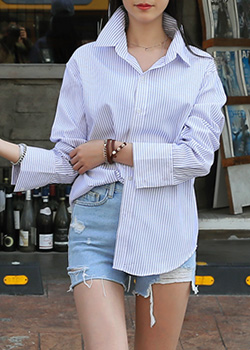 "486804 - <font color=""878787""><font face=""굴림"">Bigen Stripe Shirts</font></font>"