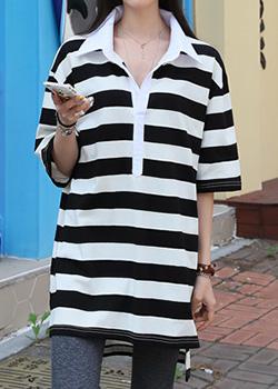 """486814 - <font color=""""878787""""><font face=""""굴림"""">Empty striped polo shirt halo</font></font>"""