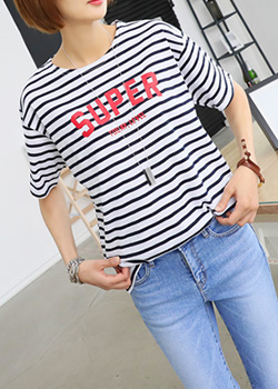 "486894 - <font color=""878787""><font face=""굴림"">Super Power striped t-shirt printing</font></font>"