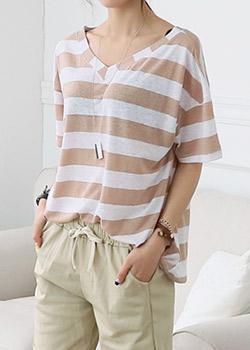"486968 - <font color=""878787""><font face=""굴림"">Ling Sho Stripe T-shirt</font></font>"