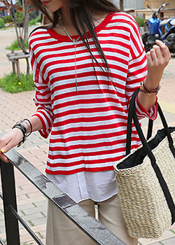 """487029 - <font color=""""878787""""><font face=""""굴림"""">Levi's Stripe T-shirt</font></font>"""