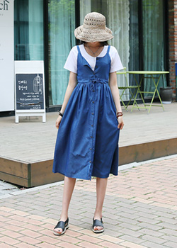 "487034 - <font color=""878787""><font face=""굴림"">Denim dress one step at a time</font></font>"