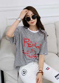 """487159 - <font color=""""878787""""><font face=""""굴림"""">Peace Stripe T-Shirt</font></font>"""