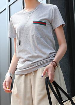 "487419 - <font color=""878787""><font face=""굴림"">Premium jersey pocket T-shirt</font></font>"