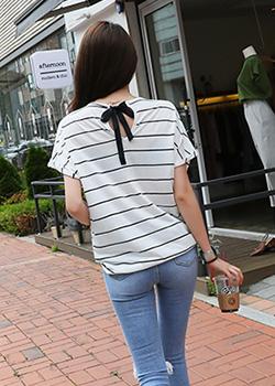 "487446 - <font color=""878787""><font face=""굴림"">Lovely Stripe T-shirt</font></font>"