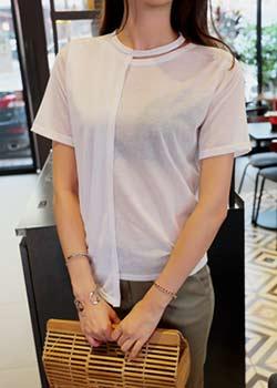 """488012 - <font color=""""878787""""><font face=""""굴림"""">Unique Choker T-shirt</font></font>"""