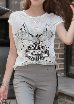 "488123 - <font color=""878787""><font face=""굴림"">Circle Eagle Slab T-shirt</font></font>"